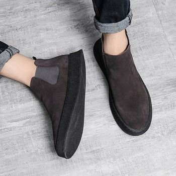 Cow Suede Leather Men s Boots Plus Velvet Warm Casual Shoes Slip On Suede New
