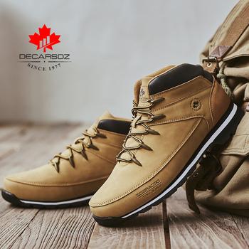 Mężczyźni podstawowe buty 2020 wiosna wygodne buty casual męskie modne buty mężczyźni marka Leace-up motocykl Botas Hombre skórzane męskie buty tanie i dobre opinie DECARSDZ ANKLE Stałe Dla dorosłych Płótno Okrągły nosek Wiosna jesień Niska (1 cm-3 cm) DK-B-04 Lace-up Pasuje większy niż zwykle proszę sprawdzić ten sklep jest dobór informacji