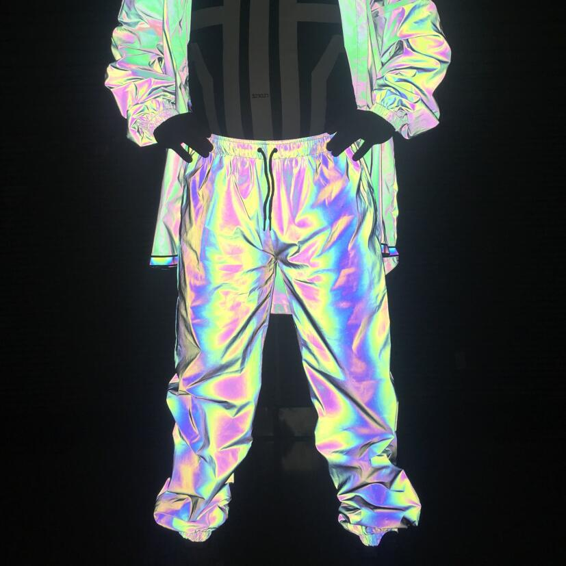 COCO 2020 Spring And Autumn Colorful Reflective Trousers Teenager Casual Hip Hop Hip Hop Skinny Pants Rainbow Color Fan Guang Ku