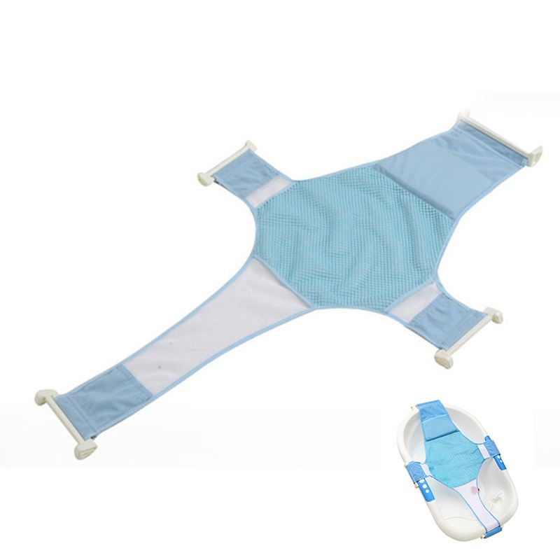 Baby Care Adjustable Infant Shower Bath Bathing Bathtub Baby Bath Net Safety Security Seat Support Blue