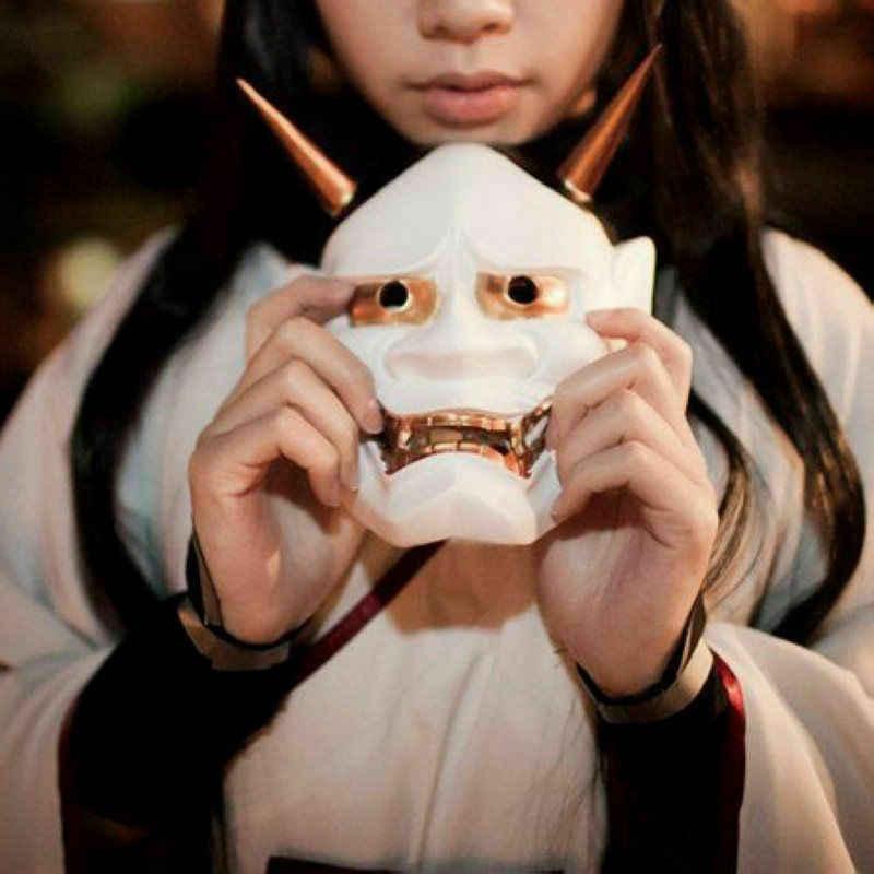 خمر اليابانية البوذية الشر أوني نوح Hannya قناع هالوين زي الرعب قناع