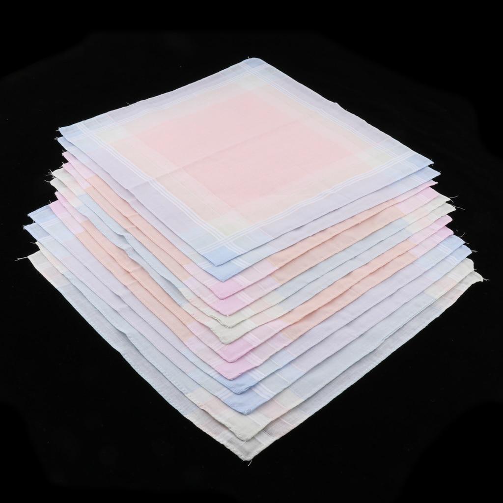 12pcs 100% Cotton Handkerchiefs Men Womens Square Plaid Pocket Hanky Hankies