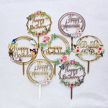 Flores de colores Topper para tarta de feliz cumpleaños decoración de postre de fiesta de cumpleaños acrílica dorada para niños, suministros para hornear pasteles de fiesta