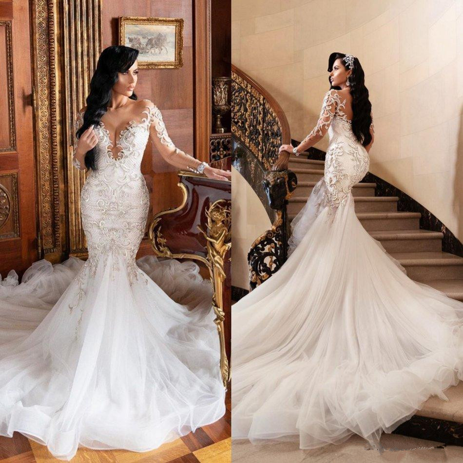Saudi Arabia Vintage Wedding Dresses Scoop Neck Long Sleeve Lace Beaded Bridal Gowns Plus Size Ruffles Sweep Train Robes De Mari