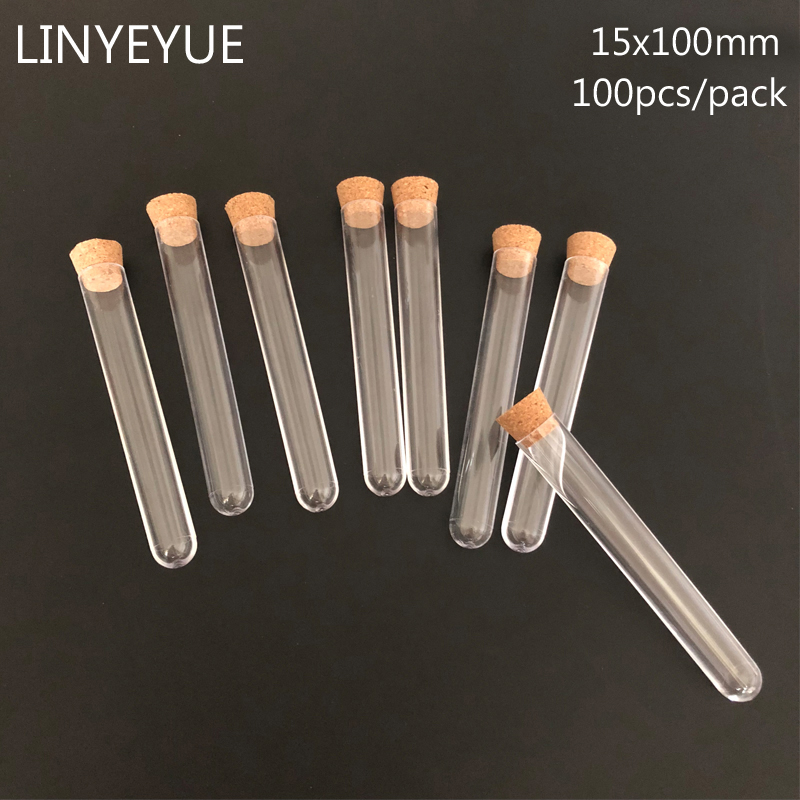 100pieces/pack 15*100mm Laboratory Plastic test tube with Cork Stopper U-Shape Bottom Transparent Wedding favours Spices