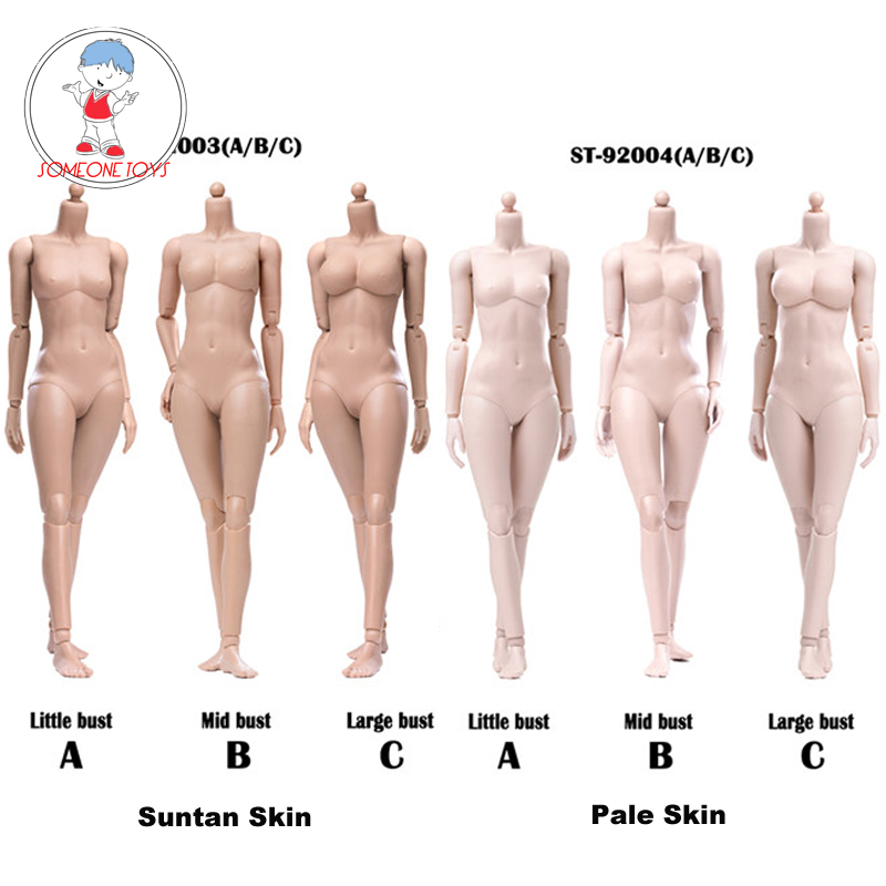 In Stock 1/6 Scale Female Flexible Suntan/Pale Skin Body Figure Small Medium Large Breast Joint Ball Body Modified Version
