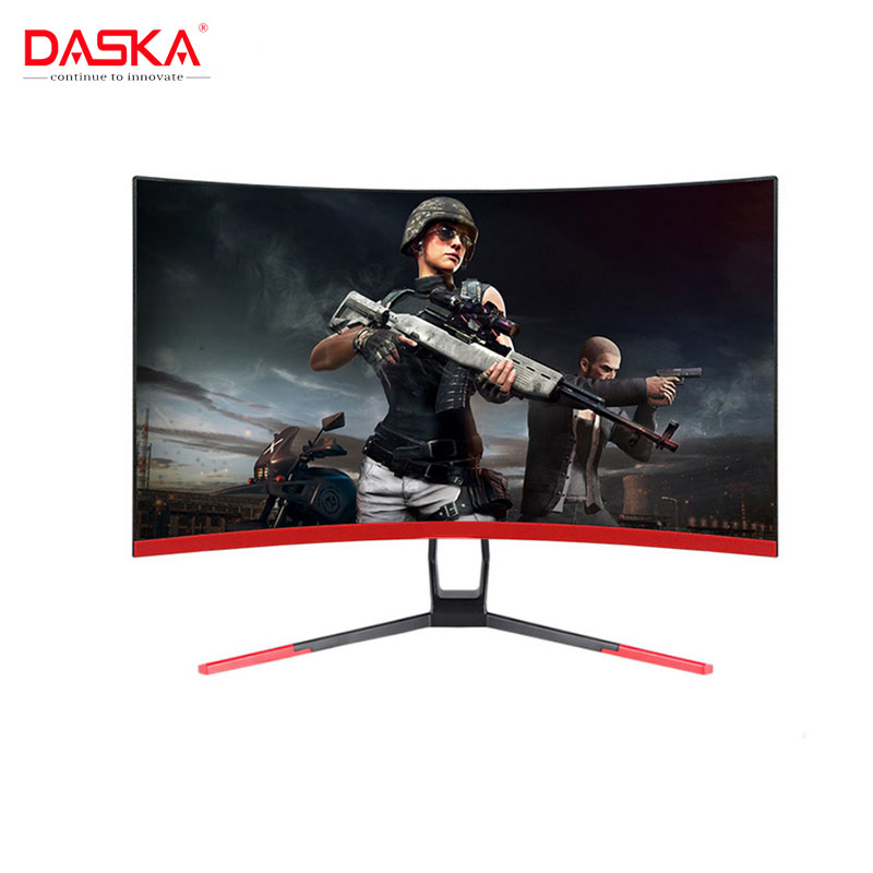 DASKA 27 inch Game Competition Curved Widescreen IPS/Led 24 Gaming Monitor 75Hz HDMI/VGA input White/Red Monitor image