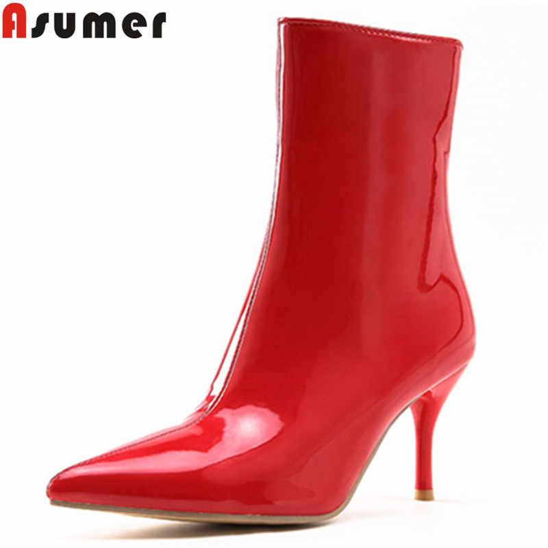 Asumer artı boyutu 34-47 moda yarım çizmeler kadınlar için sivri burun lace up sonbahar kış çizmeler zarif bayanlar balo botlar 2020 yeni