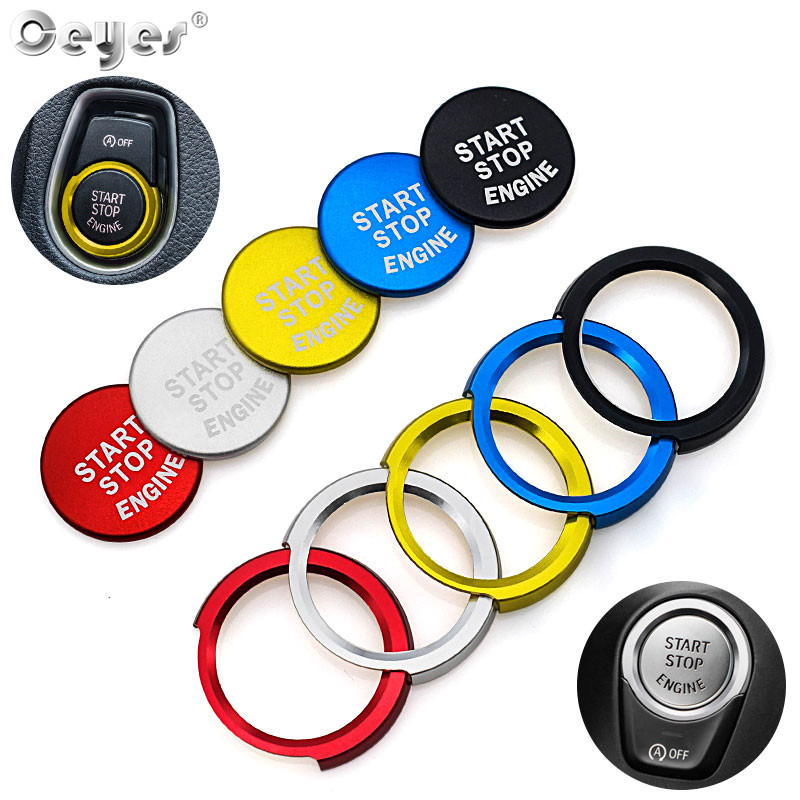 Ceyes For <font><b>Bmw</b></font> F20 F21 F30 F31 F10 Car Styling Stickers Engine Start Stop Button Rings Covers Case Decoration Switch Accessories image