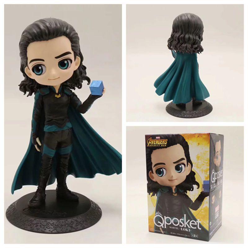 Q Posket Marvel Avengers Infinity War Loki PVC Action Figure Collection Model Anime Superhero Toys Doll 14cm