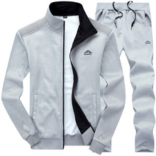 Tracksuits Men Set Polyester Sweatshirt Sporting Fleece Gyms Spring Jacket + Pants Casual Mens Track Suit Sportswear Fitness