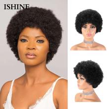 Krótki Afro peruki z włosami kręconymi typu Kinky fryzura Pixie peruka 100 peruki z ludzkich włosów Afro perwersyjne kręcone ludzkie włosy peruka dla czarnych kobiet tanie tanio ISHINE CN (pochodzenie) Włosy remy Sassy Curl Brazylijskie włosy średni rozmiar Średni brąz Tylko ciemniejszy kolor