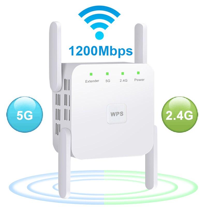 5 Ghz WiFi répéteur sans fil Wifi Extender 1200Mbps Wi-Fi amplificateur 802.11N longue portée Wi-Fi Signal Booster 2.4G Wifi Repiter