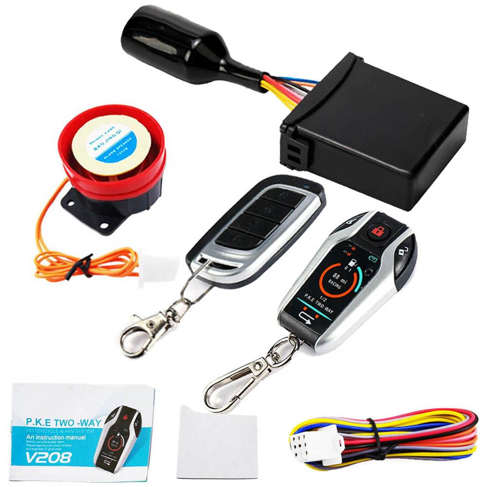 Two Way Motorcycle Alarm System Scooter Anti-theft Burglary Alarm Remote Engine Start Stop Remote Locating Emergency Disarm