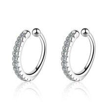 New Fashion Cubic Zirconia Ear Cuff Clip Earrings for Women 925 Sterling Silver Non Pierced Jewelry Gift