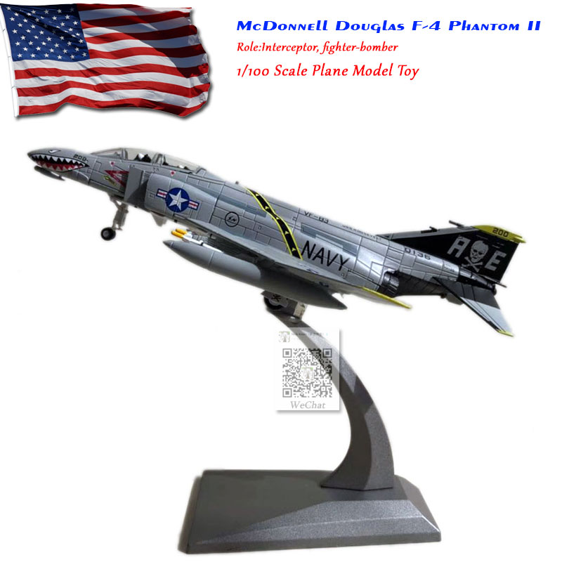 WLTK 1/100 Scale Military Model Toys F-4 Phantom II VF-84 Jolly Rogers Fighter Diecast Metal Plane Model Toy For Collection/Gift