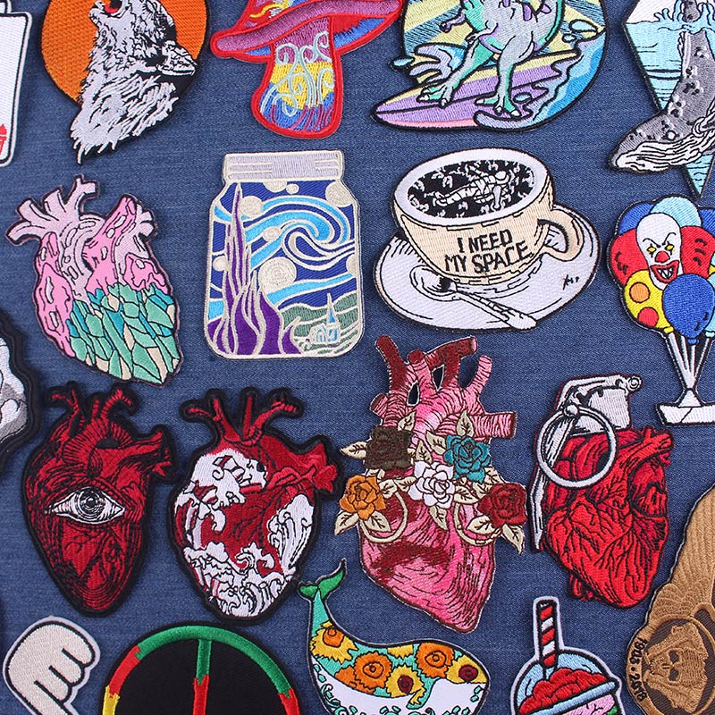 DIY Embroidery Patch Rock Heart Patches On Clothes Van Gogh Iron On Patches For Clothing Punk Biker Patch Applique Badge Stripe