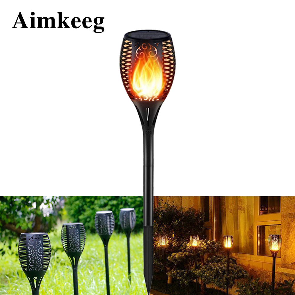 Warm White Courtyard Garden Solar Touch Outdoor Torchlight LED Flame