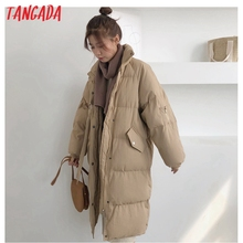 Jacket Parkas Oversize Tangada Women Loose Coat Female Warm Khaki Thick Solid Zipper