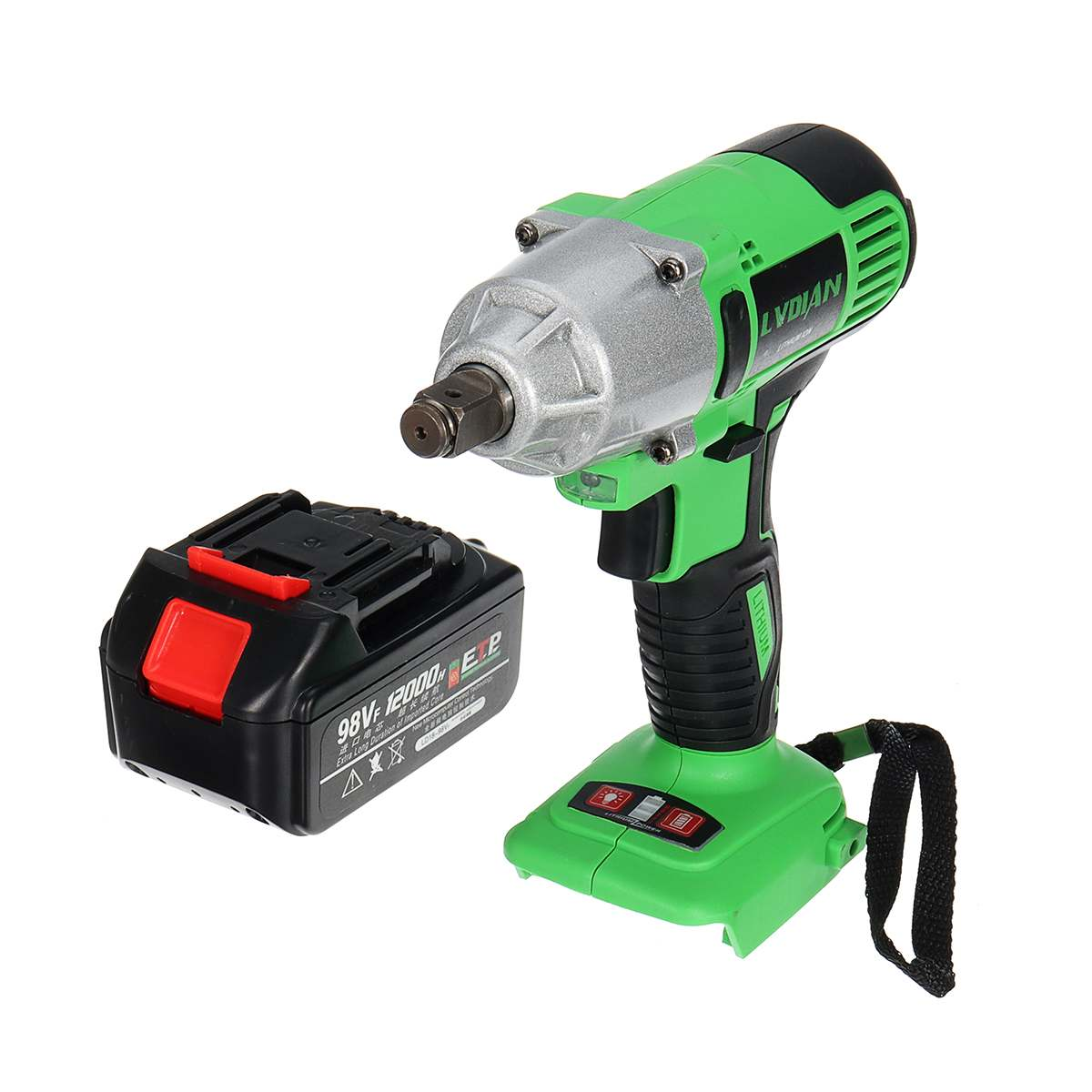 Tools : DRILLPRO Electric Wrench 98VF 1 2inch Brushless Cordless Electric Impact Wrench Drill with 12000mah Battery LED lights Power Tools