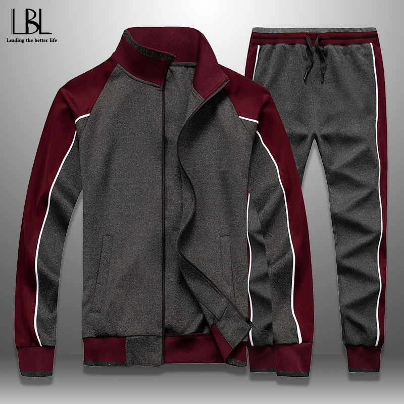 Men's Sets Sportswear 2020 Spring Autumn Casual Tracksuit Men Patchwork 2 Piece  Jacket + Sweatpants Set Male Sweatsuit Outwear