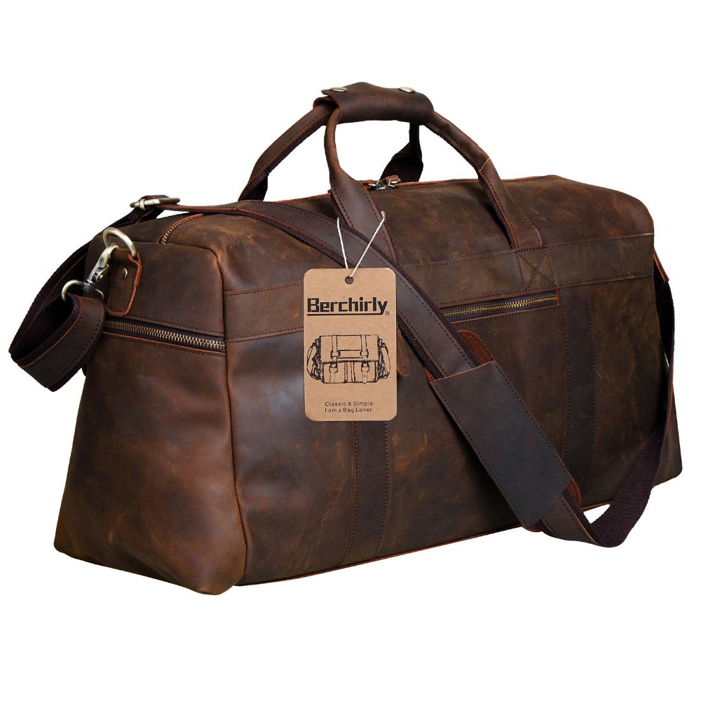 Berchirly Vintage Crazy Horse Genuine Leather Bag Men Duffle Bag Luggage Travel Bag Natural Cowhide Large Weekend Bag Hangbag
