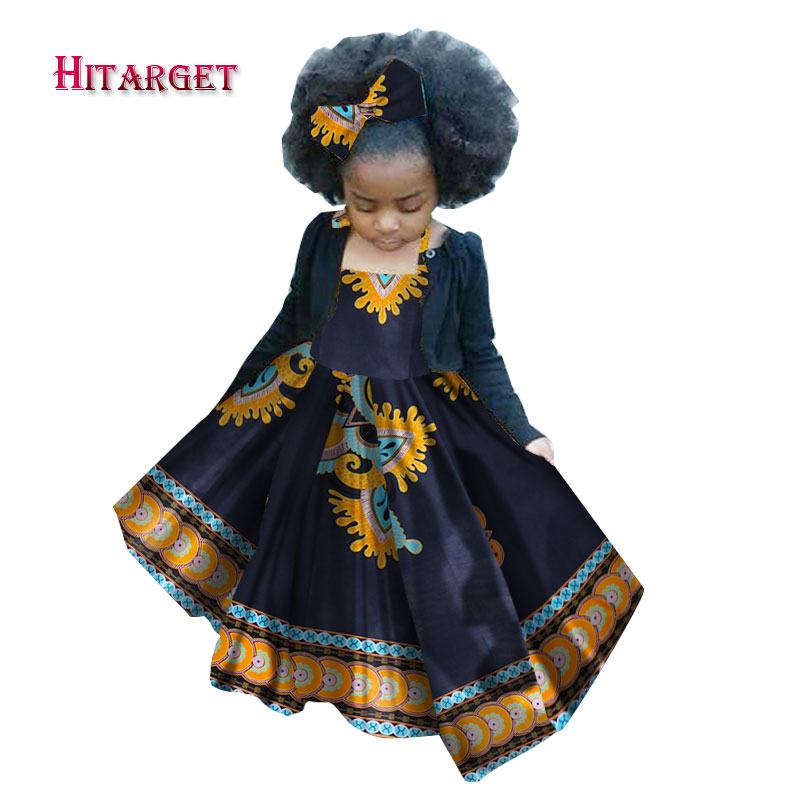 African Autumn kid Girl Dress Kids Dashiki Traditional Cotton Sling strap Dresses Matching Africa Print Natural WYT97