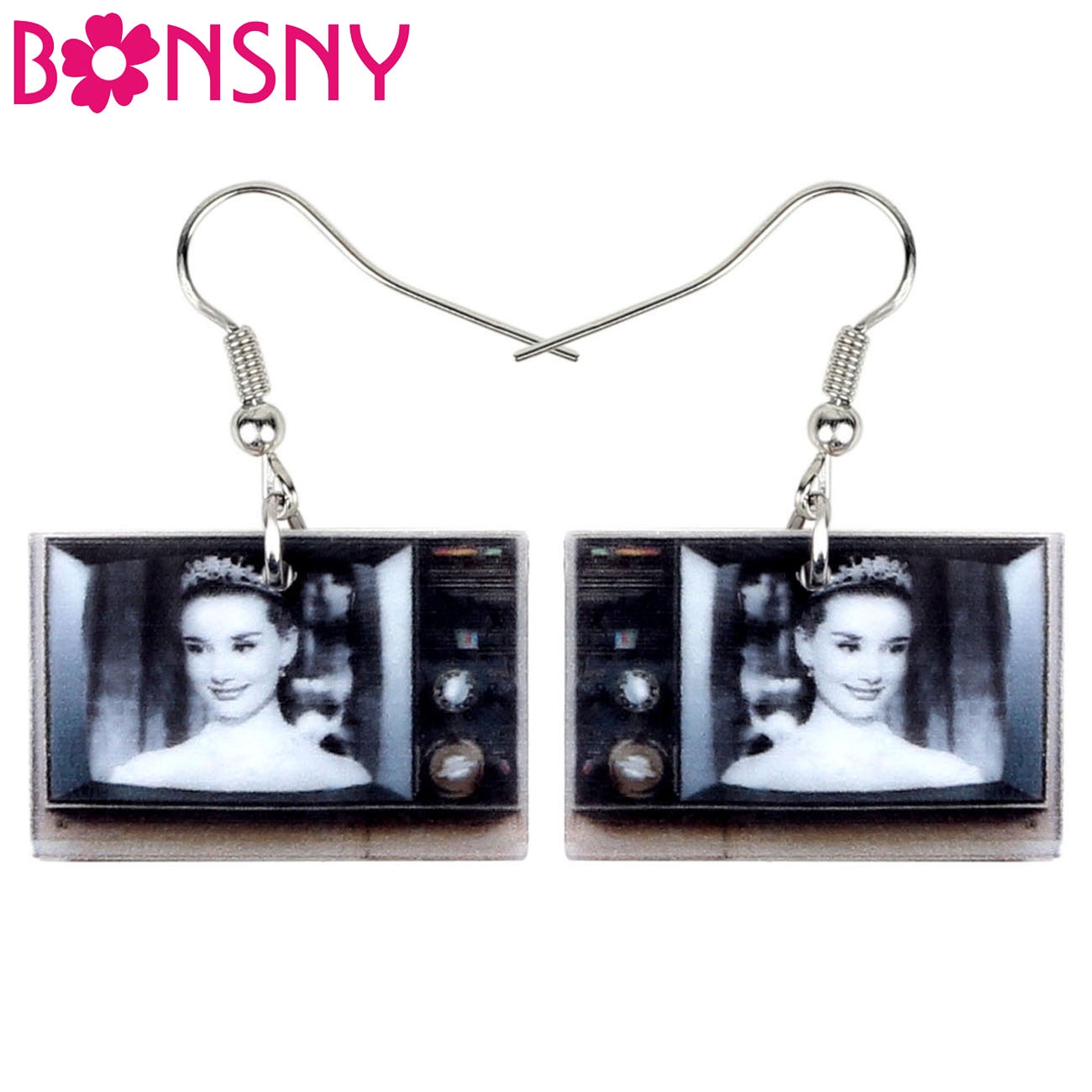 BONSNY Acrylic Vintage Television TV Earrings Drop Dangle Classical Jewelry For Women Girls Teen Kids Charm Gift Accessory Bulk