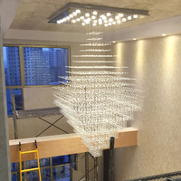Square crystal Chandelier lighting modern staircase ceiling lamps large suspension light fixtures