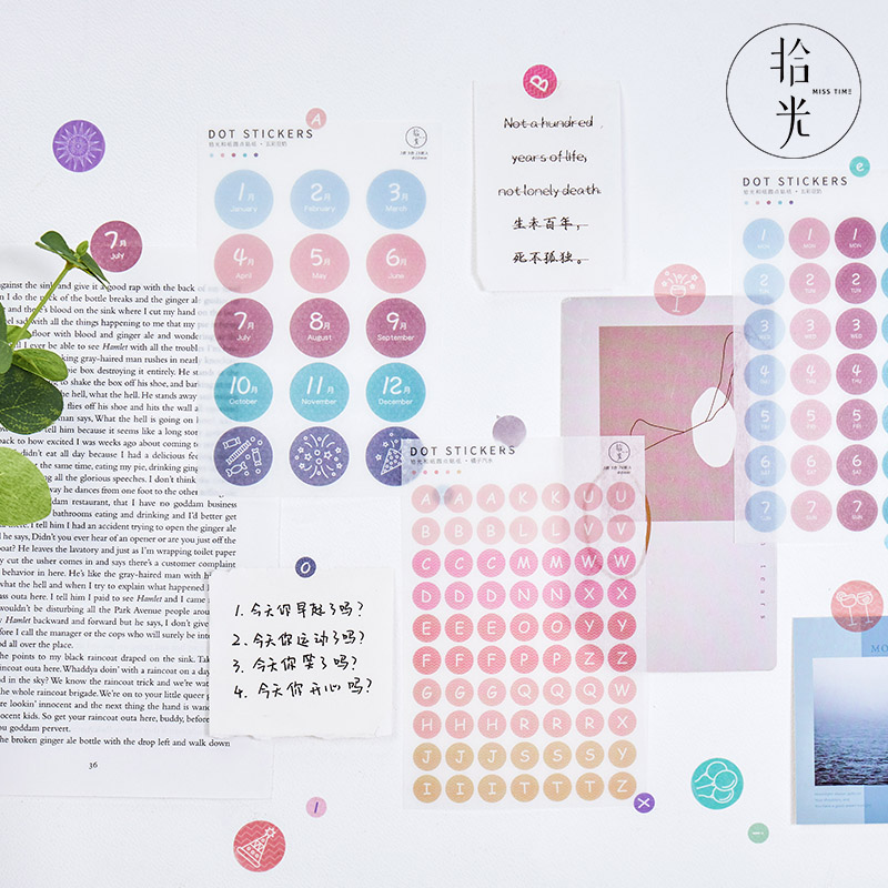 Letter number colour Dots Journal Decorative Kawaii Japanese Stationery round Stickers Scrapbooking