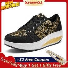 Krasovki Fitness Shoes Women Large Size Embroidered Leather Dropshipping Autumn Tourism Enhances Leisure Rocking