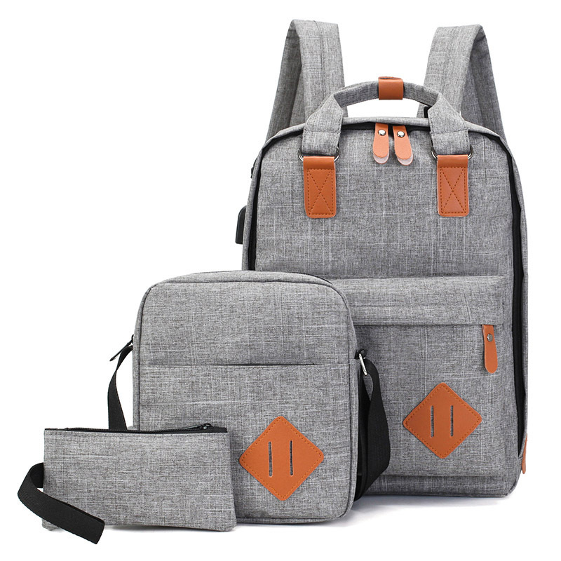 3Pcs/Set Men's Backpack Bag Male Polyester Laptop Backpack Computer Bags Unisex School Backpack Student USB Charging School Bag