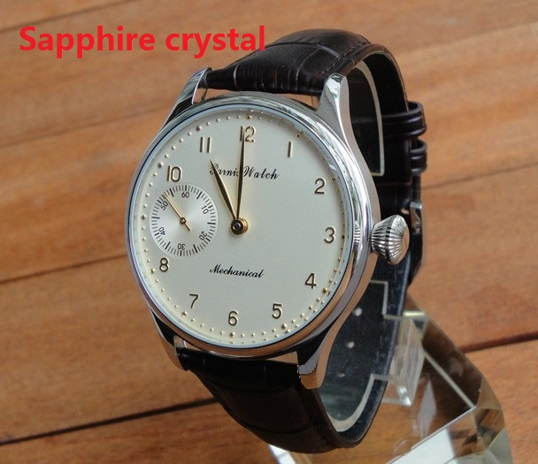 Sapphire crystal 44mm PARNIS blue /Milk  yellow dial Asian 6497 Mechanical  movement  pilot  men's watch wholesale pa211 p8|Mechanical Watches| |  - title=