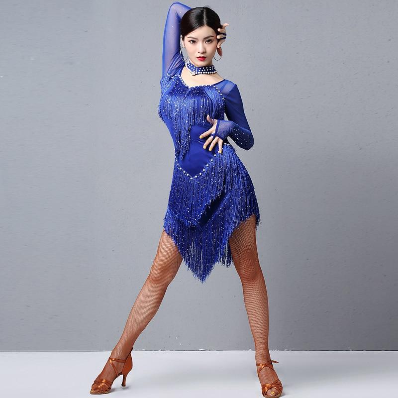 2020 Women Dance Wear Ballroom Dress Samba Costume Party Dresses Sheer Mesh Stretchy Fringes Latin Dress