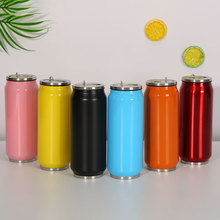 500ML Thermos Bottle With Straw Beverage Cans Mugs Sports Cola Cups Stainless Steel Vacuum Insulated Water Bottles Gifts