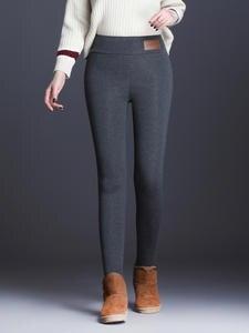 Elastic Pants Trousers Tight-Type OUMENGK Warm Autumn Thick High-Waist Winter Women New-Fashion