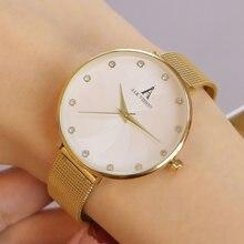 Тонкий браслет часы для женщин женские наручные золотые модные