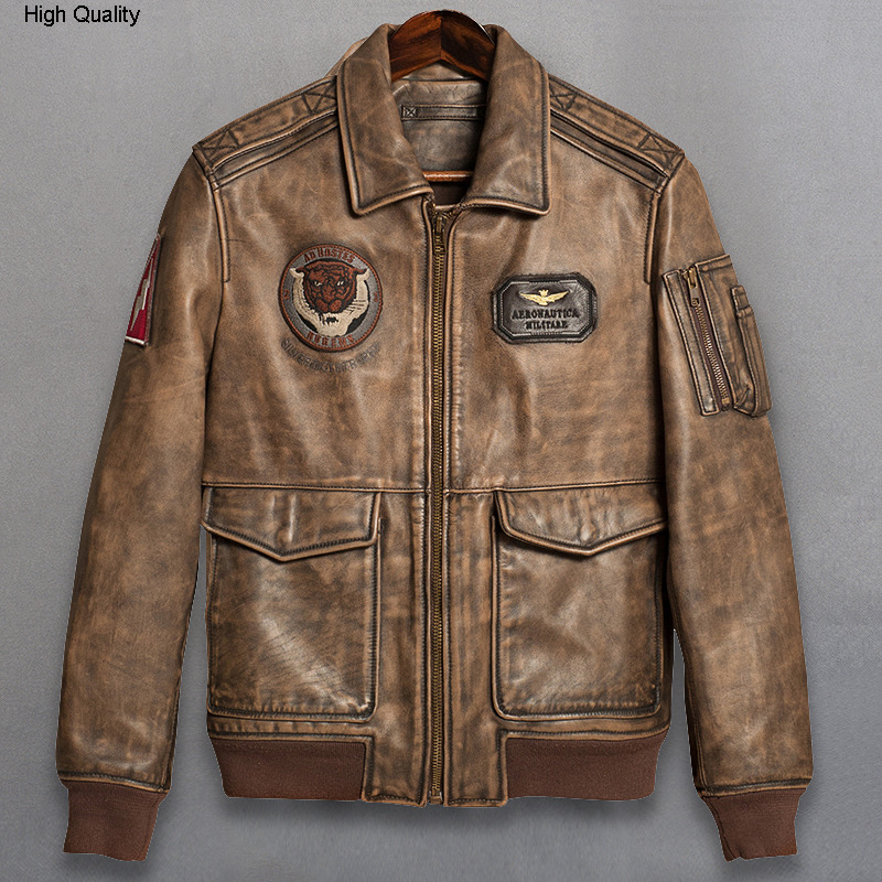 American A2 flight jacket men's vintage genuine leather jacket with tiger embroidery aviator real cow leather coat men