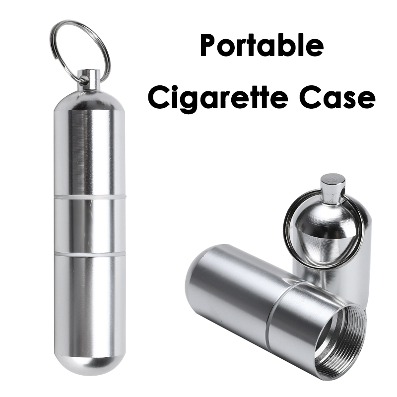 Stainless Steel Waterproof Sealed Cigarette Case Portable Silver Cigarette Box Multi-function Storage Boxes Bins Medicine Bottle