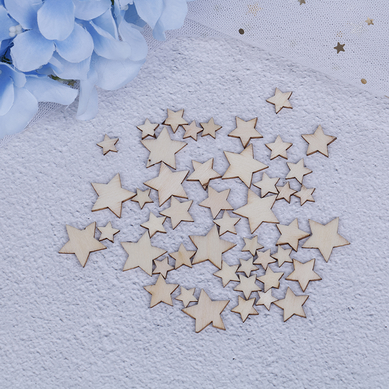 100PCS mix Natural Wood Crafts hollowed out Pentagram star bookmark Pattern Art Collection Handmade Home DIY decoration
