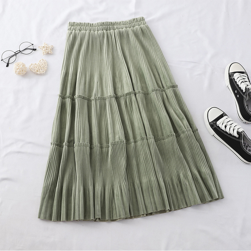 TIGENA Velvet Pleated Skirt Women Fashion 2019 Fall Winter Korean Casual A Line High Waist Long Skirt Female Black Blue Green