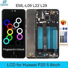 LCD für Huawei P20 Display LCD mit Rahmen Fingerprint Entsperren 10 Touch Screen Ersatz für Huawei P 20 EML-L09 L22 l29 5,8 zoll