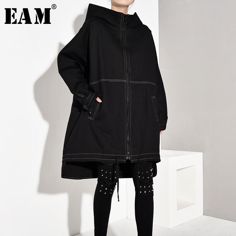 [EAM] gabardina holgada de manga larga con capucha de línea de cordón para mujer, cortavientos de moda para primavera y otoño 2020 1A8260