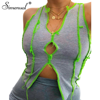 Simenual Slit Cut Out Sexy Asymmetrical Tank Top Women V Neck Sleeveless Fashion Crop Tops Summer Hot Bodycon Patchwork Tanks chic v neck hollow out solid color asymmetrical women s tank top
