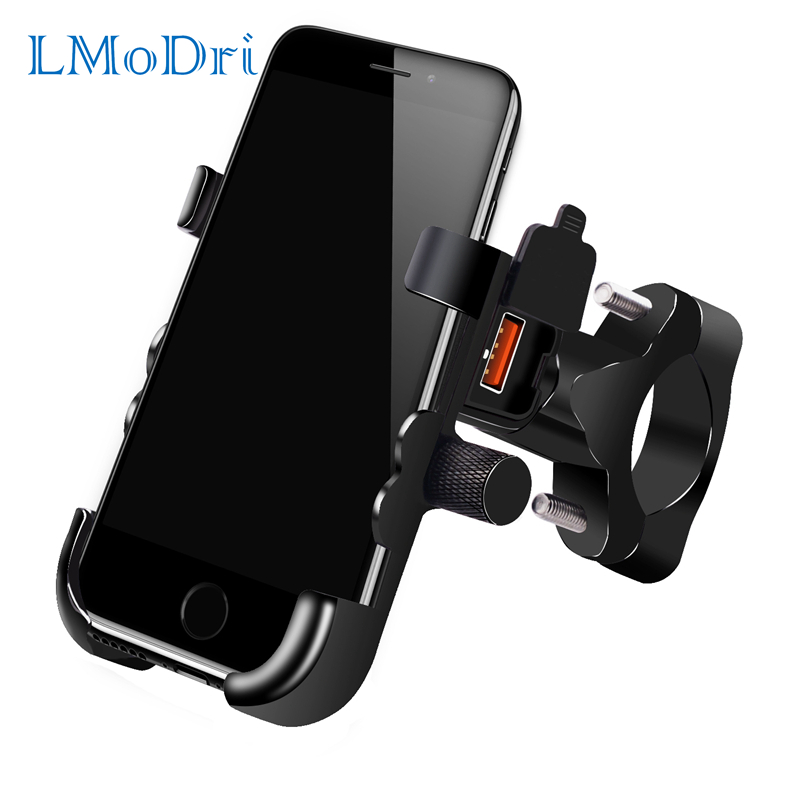 LMoDri Universal Phone Holder QC 3.0 Motorcycle USB Charger Waterproof 12V MotorBike Mobile Phone Mount Power Adapter Mirror