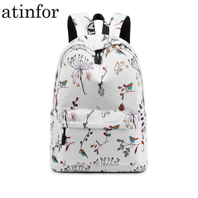 Casual Waterproof Women Backpack Flower Printing Girls College Laptop Bookbags Lady Travel Bagpack