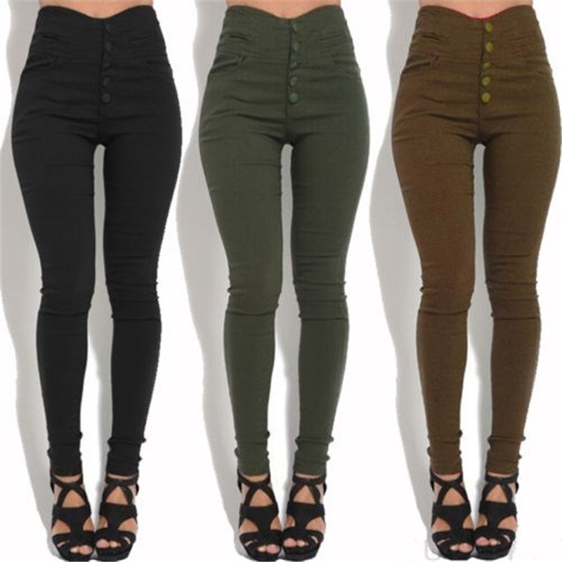 High Waist Pencil Pants Women Skinny Stretch Slim Fit Trouser Stylish Female Black Button Long Pants 3XL Plus Size