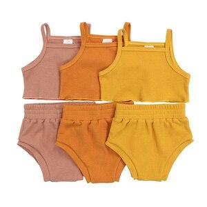Kaiya angel 2020 одежда для маленьких девочек, топ на бретельках + шаровары, однотонная одежда, летний комплект одежды из вафельной ткани для малень...