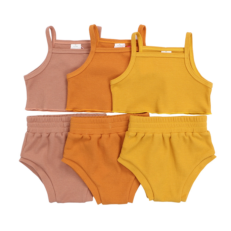 Kaiya Angel 2020 Toddler Girls Outfits Sling Top + Bloomer Solid Color Clothes Summer Baby Girls Waffle Fabric Clothing Set