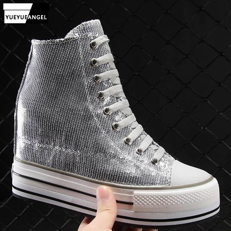 Increasing Height Women High Top Genuine Leather Platform Shoes Rivets Studded Sneakers Streetwear Hip Hop Shoes New 18 Designer